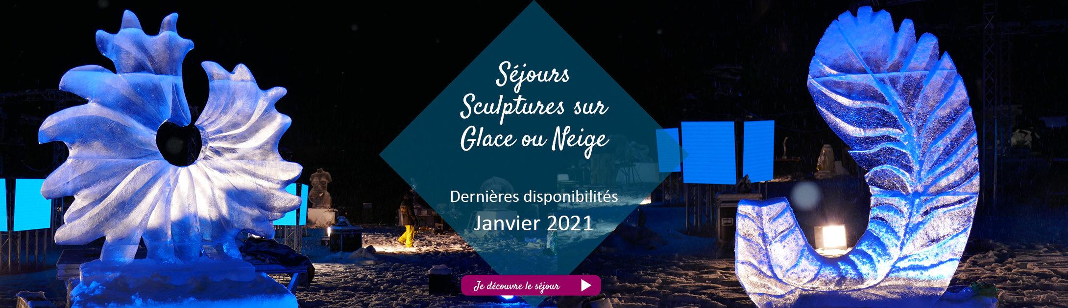 Bandeau sculpture sur glace ou neige janvier 2021